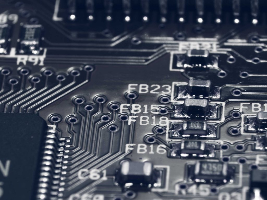 An electronic circuit board from a very close angle.