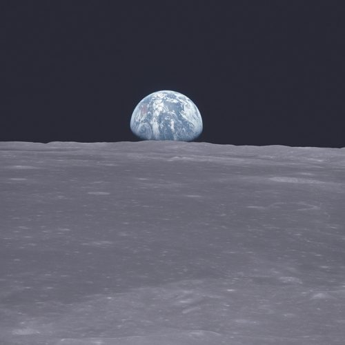 The famous image of the earth rising from the perspective of the moon